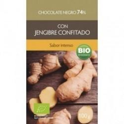 CHOCOLATE NEGRO 74% CON JENGIBRE CONFITADO ( BIOSUIT)